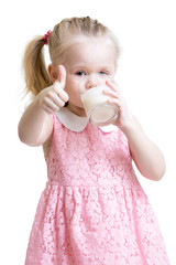Pretty kid drinking milk from glass