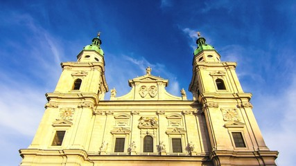 time-lapse of moving clouds over the Cathedral in Salzburg