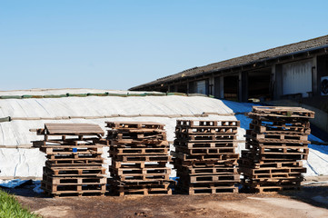 Pile di bancali in legno