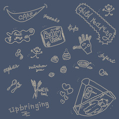 Childcare Doodle Icon Set On Blue.