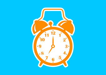 Orange alarm clock icon on blue background