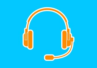 Orange headphones icon on blue background