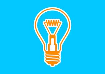Orange light bulb icon on blue background