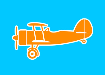 Orange aircraft icon on blue background