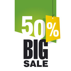 Big Sale 50 percent off green background