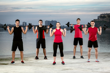 Sporty group with weights