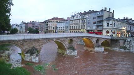 SARAJEVO, BOSNIA - MARCH 2014: Beautiful view from Latin bridge in capital bosnian city.