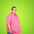 Happy fat man with pink shirt