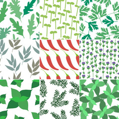 Set of 9 seamless hand drawn patterns