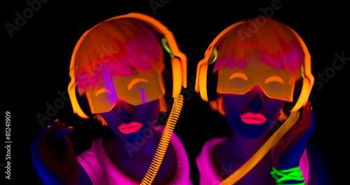 sexy neon uv glow dancer - 81241909