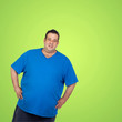 Happy fat man with blue shirt