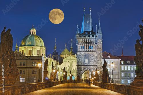 Poster Karlsbrücke Prag beleuchtet