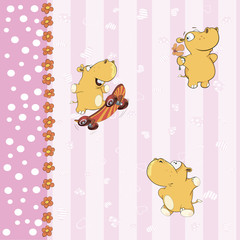 wallpaper with little hippos
