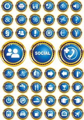 social icons, buttons, footnotes in the vector
