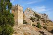 Постер, плакат: Храм 12 апостолов и башня Генуэзской крепости Судак Крым