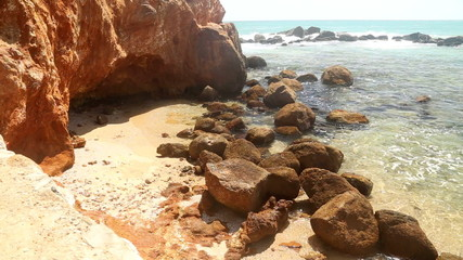 Timelapse of beautiful rocky beach in Sri Lanka