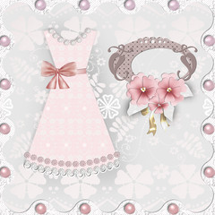 Wedding card with romantic dress
