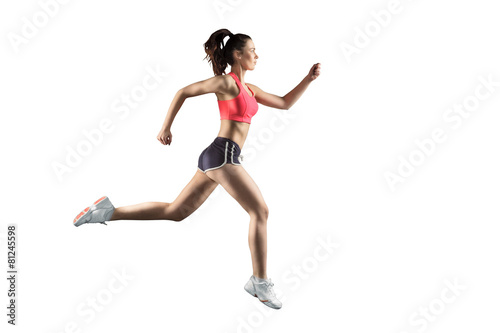 running woman isolated on white background - 81245598
