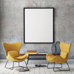 mock up poster frame in loft interior background