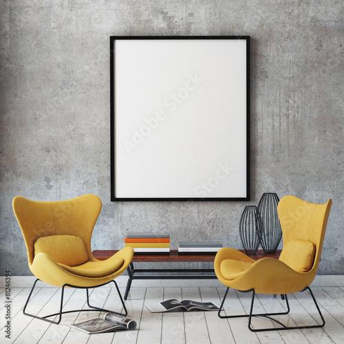 mock up poster frame in loft interior background - 81246394
