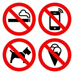 No smoking, No cell phone, No dogs and No eating