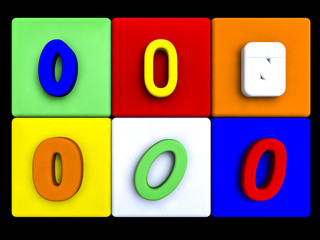 various numbers 0 on colored cubes
