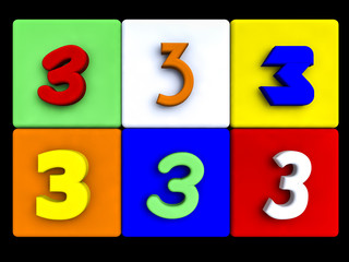 various numbers 3 on colored cubes