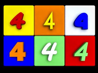 various numbers 4 on colored cubes