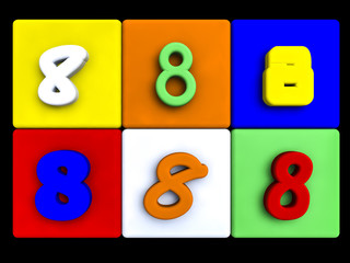various numbers 8 on colored cubes