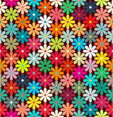 Seamless pattern of bright colorful flowers. retro colors