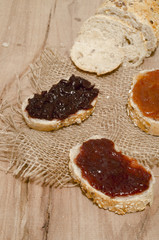 Slices of bread with different tipes of jam