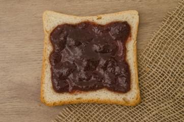 Strawberry jam on bread