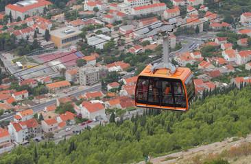 Ropeway on mountain Srdzh. Dubrovnik, Croatia