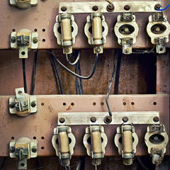 old switchboard with fuses