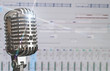 Retro microphone over recording software background. - 81249124