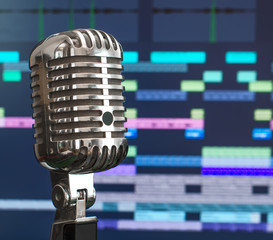 Retro microphone over recording software background.