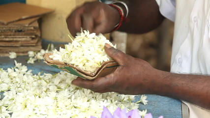 Close up view of hands making flower arrangements for temple offerings in Kandy, Sri Lanka
