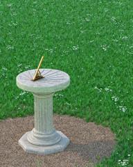 Sundial / Sun Clock with Gnomon on Grass Plot. Antique Style