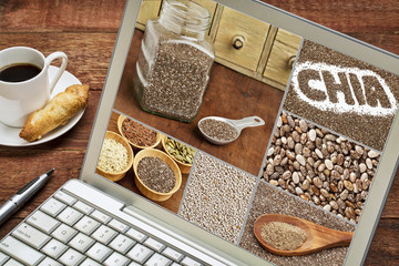 chia seeds - image collage on laptop