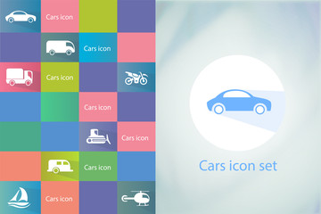 Transports icon set. Car icons set