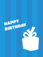 Vector happy birthday card with gift silhouette on blue