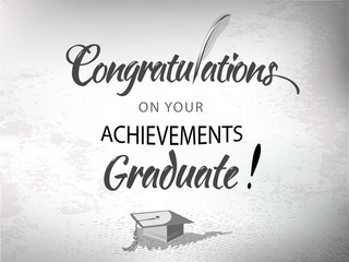 Congratulations text typography with quill pen and mortar.