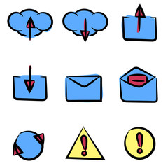 Set of icons painted by hand. Can be used in web or mobile softw