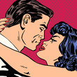 Kiss love movie romance heroes lovers man and woman pop art comi - 81251952