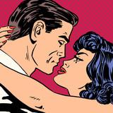 Fototapety Kiss love movie romance heroes lovers man and woman pop art comi