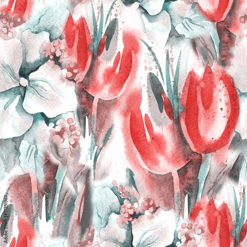 Fototapeta na wymiar Floral Seamless Pattern with Tulips