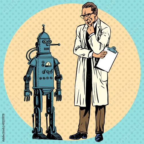 Professor scientist and robot. Creator gadget retro technology - 81251979