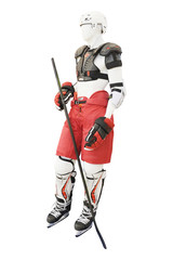 Mannequin in the protection of a hockey player