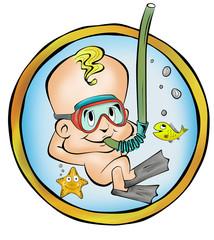 Bebe mergulhador menino no útero