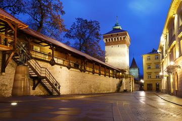 City wall and historic architecture inKrakow, Poland.